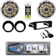 "Dual CD Stereo, Harley 98-2013 FLHT FLHX Install Din Kit, 6.5""Speakers, Adapters"