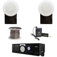 """PT110 Mono PA Amplifier,5"""" Flush Mount Speakers, Speaker Wire, Lavalier Mic Set"""