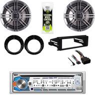"Harley FLHT FLHX Install Kit, Bluetooth Stereo, Polk 6.5"" Speakers w/Adapters"