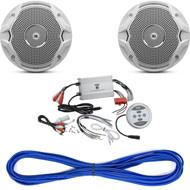 "JBL MS6510 6-½"" Dual Cone Marine Speakers - (Pair) White, 14 Gauge 50 Foot Marine Speaker Wire , Pyle PLMRMBT7S Marine Grade 1200 Watt Amp Bluetooth 4-Channel Amplifier (Silver)"