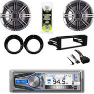 "Bluetooth CD Stereo, Harley Install FLHT Dash Kit, Polk 6.5""Speakers & Adapters"