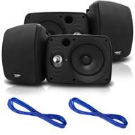 Pyle PDWR64BTB Waterproof and Bluetooth 6.5'' Indoor/Outdoor Speaker System, 800 Watt, White, Pair, 16 Gauge 50 Foot Marine Speaker Wire