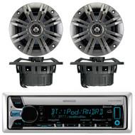 "Kenwood KMR-D765BT Marine Boat Yacht Outdoor CD MP3 USB AUX Bluetooth AM/FM Radio Receiver, Pair of Kicker 41KM652C 6.5"" 2-Ohm Marine Speakers"