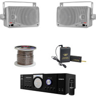 "3.5"" Silver 200W Box Speakers,PT110 Mono Mic Amplifier,Lavalier Mic,Speaker Wire"
