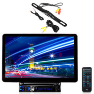 """Pyle 13.1"""" Bluetooth LCD Touch CD Mp3 Receiver, Pyle Rear Back Up Black Camera"""