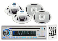 """6x9"""" 2Way Marine 500W White Speakers, Pyle AM FM USB SD CD AUX Marine Receiver"""