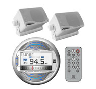 "2 White Box 200W 3.5""Marine Speakers & MGH30BT Bluetooth iPod AUX USB LCD Radio"
