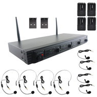 New Pyle PDWM4560 4 Channel Rack Mount UHF Wireless Microphone System, 4 Body-Pack Transmitters, 4 Headset & 4 Lavaliere Mics
