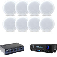 """8"""" 2-Way In-Ceiling Speakers, Speaker Selector, Pyle USB AUX 200W Home Receiver"""