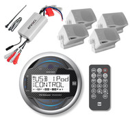 MGH20 New Boat Bike AUX USB Input Stereo,  White Box Speakers, 800W Amplifier