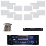 "6.5"" White In-Wall 200W Speaker Set, Speaker Selector/Wires,USB DVD Mp3 Receiver"