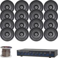 """Pyle 8-Channel Speaker Selector, 5.25"""" In-Ceiling 150W Speaker System w/ Wiring"""