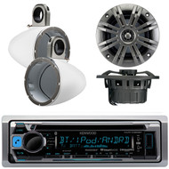 """Kenwood KMR-D368BT Marine Boat Yacht CD MP3 Bluetooth Stereo AM/FM iPod iPhone Radio Player, Pair of Kicker 41KM652C 6.5"""" 2-Ohm Marine Speakers, Pair Of Kicker 12KMTESW White 6 1/2"""" Wakeboard Tower Enclosures"""
