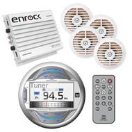 """Marine USB iPod AUX Bluetooth 240W Radio, 400W Amplifier,4 5.25"""" White Speakers"""