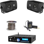 """5.6"""" PA Horn Speakers, Speaker Wire, Bluetooth Mini Amplifier, Lavalier Mic Set"""
