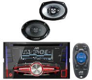 """2 Kenwood 6x9"""" 400W Coaxial Speakers,JVC Double Din iPod CD USB Mp3 Car Receiver"""