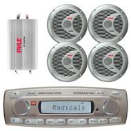 4 x 45 Watt JBL MR18.5 AM/FM Radio Waterproof Marine Stereo Receiver, PLMR60S Pyle 150 Watts 6.5'' 2 Way Marine Speakers (Silver), PLMRMP3A Pyle 4 Channel Waterproof MP3/ Ipod Marine Power Amplifier (White)