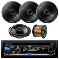 """JVC KD-RD87BT Bluetooth iPod Android USB/MP3/WMA CD Player Stereo Receiver, Pioneer 6.5"""" 2 Way Speakers 250W, Enrock Audio 16-Gauge 50 Foot Speaker Wire"""