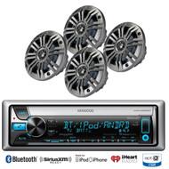 """Kenwood iPod Bluetooth CD USB Marine Radio, 4 Kicker 6.5"""" 2ohm Marine Speakers"""