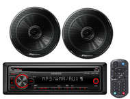 "2 Black 6.5""250W Full Range Coaxial Car Speakers,Kenwood Mp3 CD AUX Car Receiver"