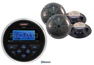 "4 Black 5.25"" 2Way Marine Speakers, Jensen Bluetooth Boat USB AUX AM FM Receiver"