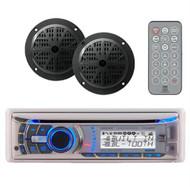 New 240 Watt Dual AMB600W Marine Waterproof Radio CD MP3 Receiver + 2 Speakers