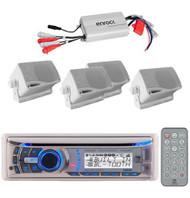 New Marine Dual CD MP3 AUX WMA WB USB Receiver + 4 Box Speakers/ 800w Enrock Amp