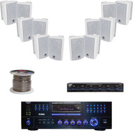 "4"" 3Way Box Speaker Set, Speaker Selector/Wiring, Pyle 3000W AM FM USB Receiver"