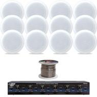 """PDIC81RD 8"""" 2Way In-Ceiling Speakers, Speaker Wire, 6-Channel Speaker Selector"""