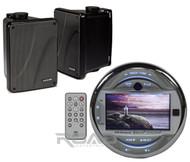 """Marine MGH30BT AUX USB iPod iPhone Input 3"""" LCD, Kicker 6.5"""" Black Box Speakers"""