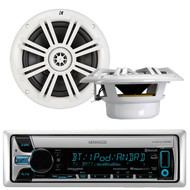 "Kenwood KMR-D765BT Marine Boat Yacht Outdoor CD MP3 USB AUX Bluetooth AM/FM Radio Receiver, Pair of Kicker 41KM604W 6.5"" 6-1/2"" Inch 4-Ohms Audio Speakers"