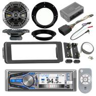 "Harley FLHT FLHX 98-2013 Adapter Kit, Bluetooth Radio, Kicker 6.5"" Speaker Set"