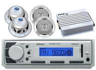 "400W Marine Amplifier,Enrock USB AUX AM FM Mp3 Radio, 6.5"" Marine 4Way Speakers"