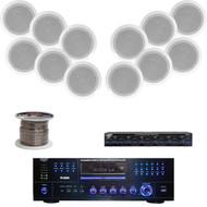"PD3000A USB DVD Receiver, 8"" In-Ceiling Speaker Set, Speaker Selector & Wiring"