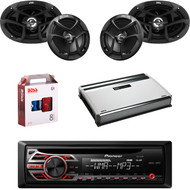 "1 X In Dash Pionner DEH150MP Car Receiver, 1 X Pair JVC CSJ6930 6x9"" Speakers, 1 X Pair JVC CSJ620 6x5"" Speakers, 1 X MB Quart NA3604 4 Ch Amp, 1 X 8g Install Kit"