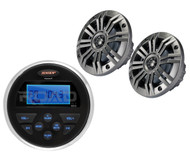 "2 Kicker 4"" Marine Coaxial Speakers, Marine Jensen AM FM USB AUX Boat Receiver"