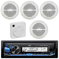 """Package Bundle Kit Includes: 1 JVC KD-X35MBS Bluetooth Stereo USB/AUX Receiver Unit + 4 x (2 Pairs) of Magnadyne AquaVibe WR65W 6-1/2"""" Inch White Marine Speakers + 1 Dual XGPS10M Boat Bluetooth Wireless GPS Receiver"""