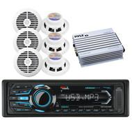 Boss AUX AM FM USB Bluetooth iPod  Radio, 400W Amplifier,6 White Marine Speakers