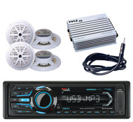 "Marine USB Bluetooth iPod AM FM Radio &Amplifier,Antenna,4 White 5.25"" Speakers"