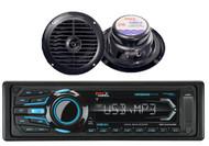 "2 Black 6.5"" 120W Marine Speakers & Boss Marine Bluetooth USB iPod AUX Receiver"