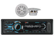 "4"" White 100W Marine Boat Speakers & BOSS Marine USB AUX Bluetooth AM FM Radio"