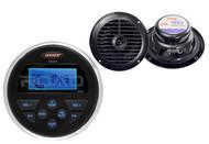 "2 Black 6.5"" Marine Dual Cone Speakers,Jensen Marine 160W USB AUX AM FM Receiver"