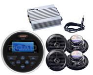 """Amplifier,Antenna,4 Black 6.5"""" Speaker Set, Jensen USB AUX AM FM Marine Receiver"""