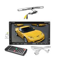 "Lanzar 7""Bluetooth CD DVD GPS Touch Screen Receiver, Silver License Plate Camera"