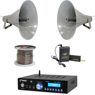 "Bluetooth USB Mini Amplifier,19.5""PA Horn Speakers,Lavalier Mic Set,Speaker Wire"