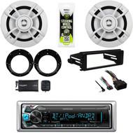 "Bluetooth Kenwood Radio,XM Tuner,Harley Install Dash Kit, 6.5"" Speakers,Adapters"