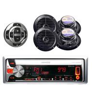 "Kenwood Marine Bluetooth CD MP3 USB Radio w/ 4x 6.5"" Speakers and Wired Remote"