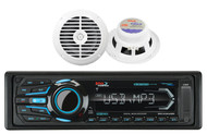 "2 White 6.5"" 120W Marine Speakers & Boss Marine Bluetooth USB iPod SD AUX Radio"
