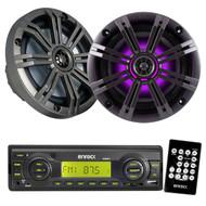 "2 Kicker Colored LED 6.5"" Speakers, Black Enrock USB Mp3 AM FM AUX Marine Radio"