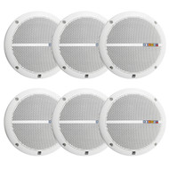 """3 Pair Dual White 6.5"""" Inch Marine Boat Yacht Outdoor Audio Speakers System"""